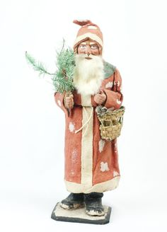 """RARE 1910s German Large Christmas Santa Claus Candy Container 16 1/2"""""""