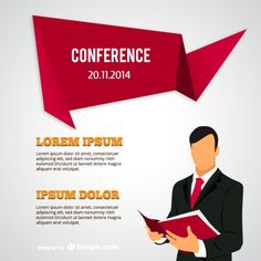 Conference poster with businessman Free Vector