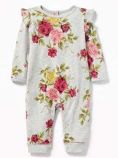 Ruffle-Shoulder One-Piece for Baby