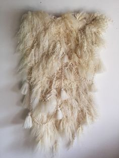 Shaggy wool felt wall hanging with garlands and by modernfiberlab
