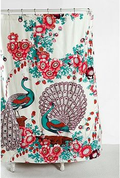 Floral Peacock Shower Curtain