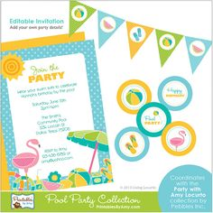 Pool Birthday Party Printables by Amy Locurto. Bright colors, beach balls, flip flops and flamingos for a fun summer bash!