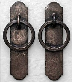 Hand crafted iron garage door handles, old world iron