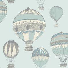 Grandeco Hot Air Balloons Pattern Stripe Metallic Wallpaper A11104