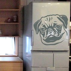 Dog Decal Pug Face, Vinyl Sticker Decal - Good for Walls, Cars, Ipads, Mirrors Etc by PSIAKREW on Etsy