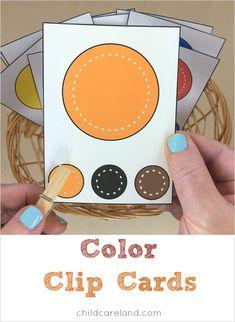 clip de las tarjetas de color para preescolar y jardín de infantes
