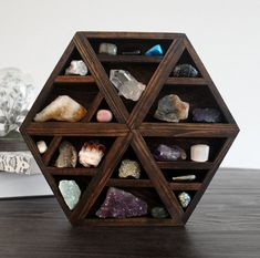 one of a kind handmade hexagon wood wall shelf by stoneandviolet