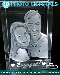 Cherish your favorite memories forever with a personalized crystal from ArtPix Save up to today! For a limited time, get an extra off with code: Cute Couple Gifts, Cute Gifts, Diy Gifts, Creative Gifts, Unique Gifts, 3d Crystal, Crystal Gifts, Money Bouquet, Personalized Picture Frames
