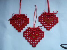 Hardanger Heart Ornaments - stitchin fingers