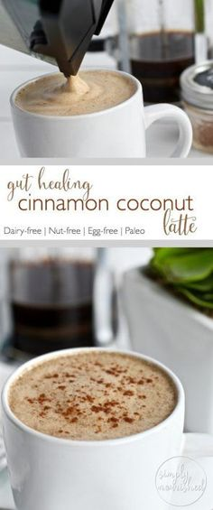 Gut-healing Cinnamon Coconut Latte | Start your day off right with this creamy delicious coffee drink - abundant in metabolism boosting fats and gut-healing collagen. #CoffeeDrinks