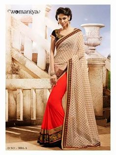 Beautifully designed Orange and Beige Georgette saree with heavy embroidery work en-crafted all over. Comes along with Contrast matching Black Blouse.