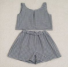 Black/white gingham crop top and high-waisted shorts set