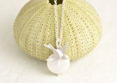 Silver Bird Necklace  bridesmaid necklace pearl by MegusAttic, 27.00