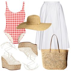 Hamptons-Ready - Pair a gingham one-piece with a flouncy white midi skirt and neutral accessories in woven raffia.