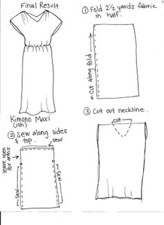 "Easy simple dress idea with one piece of fabric. I would fold at shoulders to reduce the first cutting / sewing step. Ideally a piece of fabric 25"" wide for flare and 80"" long if folding in half at shoulders."