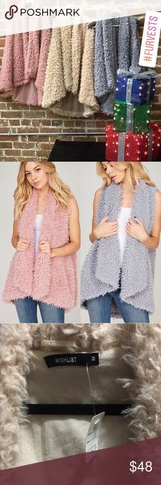 🆕NWT Boutique CREAM shaggy faux fur vest Purchased from a local boutique this fall but never got around to wearing it. This would look so cute with a simple long sleeve top and some jeans. I am selling the CREAM COLOR ONLY. Brand NWT tags attached. Paid $52+tax. 🚫NO TRADES PRICE IS FIRM Wishlist Jackets & Coats Vests