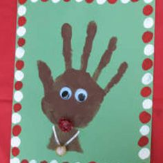 Christmas Crafts for Kids- Made by using child's handprint on construction paper. Add some wiggly eyes and a little of your own ideas for decoration. Cute keepsake for parents, grandparents.