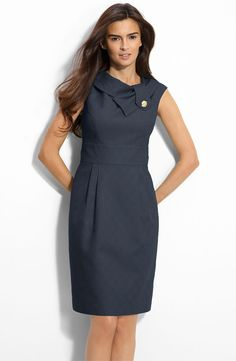 Dark Blue Dress With Collar