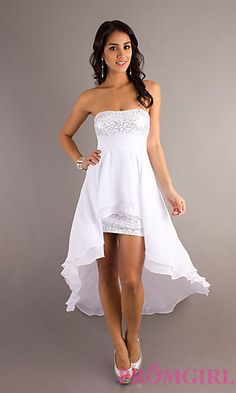 Strapless High Low White Dress at PromGirl.com also in black, pink, purple, blue, gray, white, red