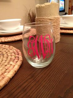 Monogram Stemless Wine Glass Custom Wine Glass by CalisCases, $8.00