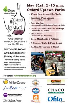 Oxford Wine Festival. Wine, Beer, Food, Music and Artisan Crafts in the small college town setting of Oxford, Ohio.