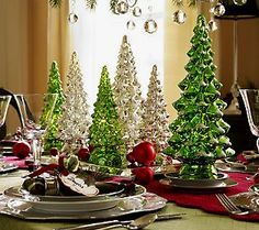 Set of 3 Twinkling Mercury Glass Trees w/ Timers by Valerie