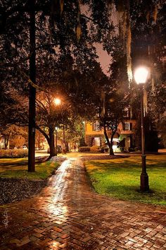 The squares in Savannah have a mysterious, haunted feeling at night. You can almost feel spirits from her historical past all around you. It is especially beautiful after a rain, when the air is heavy and balmy, and the wonderful wet brick walkways reflect the golden light from the ornate antique lamp posts