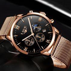 87b8e822310 LIGE Mens Relógios Top Marca de Luxo de Ouro Relógio de Quartzo de Negócios  Homens Casuais Malha de Aço À Prova D  Água Relógio Do Esporte Relogio  masculino ...