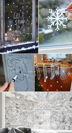 decoration vitre noel facile You are in the right place about decoration mariage Here we offer you t Christmas Window Decorations, Christmas Window Display, Christmas Windows, Table Decorations, Christmas Holidays, Christmas Crafts, Xmas, Christmas Ideas, Simple Christmas Cards
