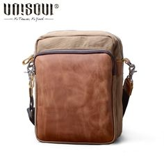 e180cae6c430 UNISOUL Vintage Leather Messenger Bag Men s canvas Briefcase High quality  brand shoulder bags for men travel big crossbody bags-in Crossbody Bags  from ...