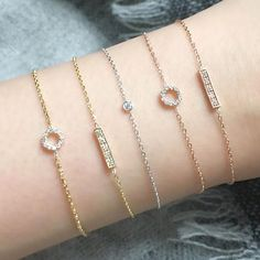 Vale Jewelry Pavé circle and bar bracelets in yellow and rose gold