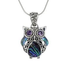 This abalone owl is a fun addition to any collection. Stunning abalone and amethyst have been set in a beautiful sterling silver setting. *pendant only - chain not included. DETAILS Size: x Metal: Sterling Silver Material: Abalone, Amethyst Owl Pendant, Pendant Necklace, Abalone Shell, Sterling Silver Pendants, Snake, Amethyst, Jewelry Design, Chain, Metal