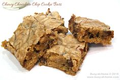 Chewy ChocoIate chip Cookie Bars - I bake this recipe in my 12x18 sheet cake pan, but two 9x13 pans work just as well. This will yield 48 thick and chewy 2x2 cookie bars. You will never have baked 4 dozen cookies, so quickly!