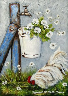 I hope you enjoyed that artist today. Tonight and Thursday, let's do STELLA BRUWER. Tole Painting, Painting & Drawing, Pinterest Arte, Stella Art, Chicken Art, Chickens And Roosters, Decoupage Paper, Country Art, Art Floral