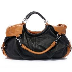 Subtle color contrast lends uptown polish to the compact maselle handbag. Made of soft calf-skin leather. Two buckles decorate on both sides. This handbag has three zippered pockets, two open pouches