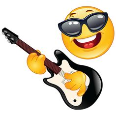 Illustration of Rock emoticon playing the guitar vector art, clipart and stock vectors. Smiley Emoticon, Emoji Love, Emoji Symbols, Emoji Faces, Smiley Faces, Playing Guitar, Funny Faces, Clipart, Funny Emoji