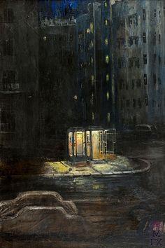 Yuri Pimenov (USSR painter, 1903 - 1977)  Ночь в городе / City Night  Hopper n'est pas loin...