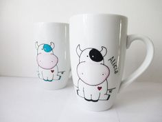 Hand Painted Porcelain Coffee Tea Mug with Cow and Heart, Kitchen Decor, Personalized mug, Cute Seated Cow, Home warming gift, Custom Mug
