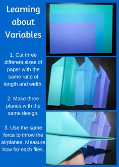 Introducing Independent, Dependent, and Control Variables 1. Start off by preparing three pieces of paper with the same ratio of height and width.  (This paper is all from the same pack and has the same weight, but I recommend using the same color paper to help make your point.) 2. Fold the papers into the same design for all three. 3. Use the same force to throw the airplanes.  Measure how far each one flies.