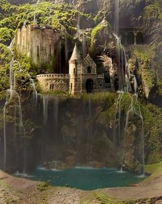 Castle in the side of a mountain