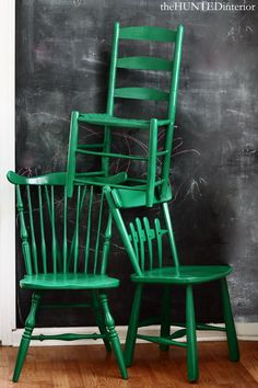Painted mismatched chairs. Would love to do this idea at our school table.