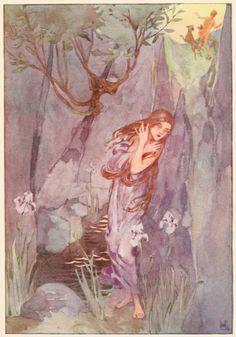 1915 Book of Myths - Helen Stratton Echo and Narcissus. Helen Stratton, Illustration, Art, Fairytale, Fantasy