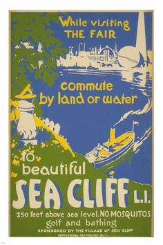 SEA CLIFF L.I. vintage travel poster 24X36 Colorful print FIRST RATE