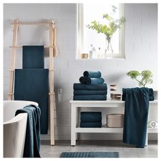 IKEA - FRÄJEN, Bath sheet, green-blue, The long, fine fibres of combed cotton create a soft and durable towel. A terry towel in medium thickness that is soft and highly absorbent (weight 500 g/m²). Blue Green, Dark Blue, Linen Shop, Terry Towel, Bath Sheets, Bathroom Towels, Master Bathroom, Affordable Furniture, Juice