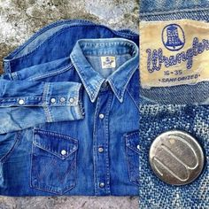 873cfc91 Wrangler real vintage denim · 男性用デニムシャツ, Levi'sのジーンズ, 西部シャツ, デニムの服,