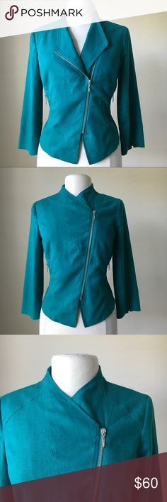 3/4 sleeve teal moto zip jacket -Fully lined -Shell: 55% Linen, 45% Rayon -Lining: 100% Polyester -Silvertone hardware -Measurements in inches  Size 6: Bust 39, waist 33, length in front 23  Size 8: Bust 40, waist 34, length in front 23  Size 10: Bust 41, waist 35, length in front 23   Size 12: Bust 42, waist 36, length in front 23.5  Size 14: Bust 43.5, waist 38, length in front 23.5 -This is a white house black market outlet item White House Black Market Jackets & Coats