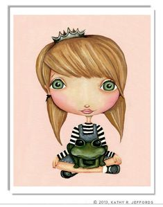 Cute Princess And Frog Artwork Little Girl Room Decor by thedreamygiraffe, $18.00 #fairytales #princess