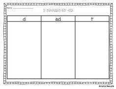 Past Tense Word Sort- The 3 Sounds of ED - tamina Phonics Words, Phonics Worksheets, Past Tense Worksheet, Wilson Reading Program, Inflectional Endings, 3rd Grade Words, Word Work Activities, Reading Activities, Sound Words