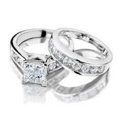 Princess Cut Diamond Engagement Ring and Wedding Band Set 1 Carat (ctw) in 10K White Gold, Size 9
