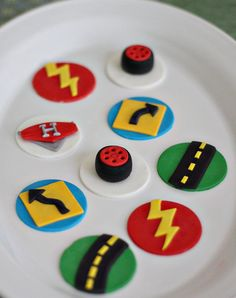 Fondant Car, Roadway, Tires and More Toppers for Cupcakes, Cookies or other Treats Fondant Cookies, Fondant Toppers, Cupcake Cookies, Car Cupcakes, 1 Year Old Birthday Party, First Birthday Tutu, Mcqueen Cake, Lightening Mcqueen, Cute Donuts